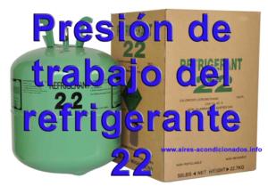 Presión de trabajo del  refrigerante 22