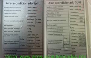 Aire acondicionado split nuevo con unidades intercambiadas